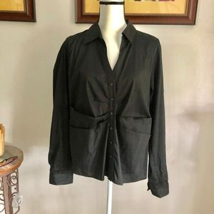 💥TAHARI unique black button down blouse NWOT XL